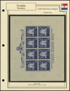 700th Anniversary of Zagreb Sheet