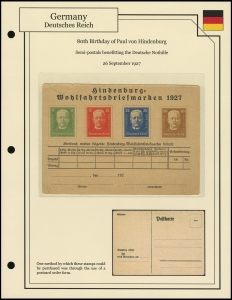 Hindenburg's Birthday Order Card