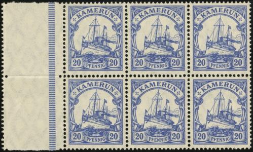 MiNr. 23 II b L / MiNr. 23 II b Block of 6