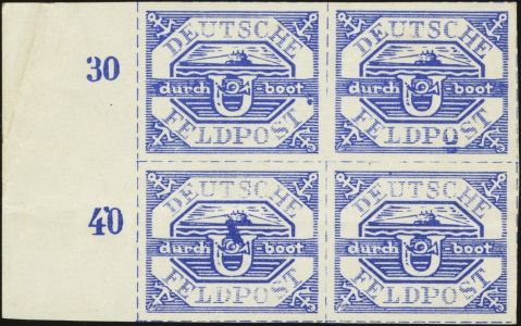 MiNr. 13 b block of 4 with MiNr. 13 b II