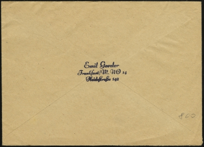 MiNr. 2 on Cover (rear)