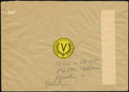 MiNr. 6 on Cover (rear)