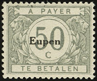 Eupen Postage Due Overprints